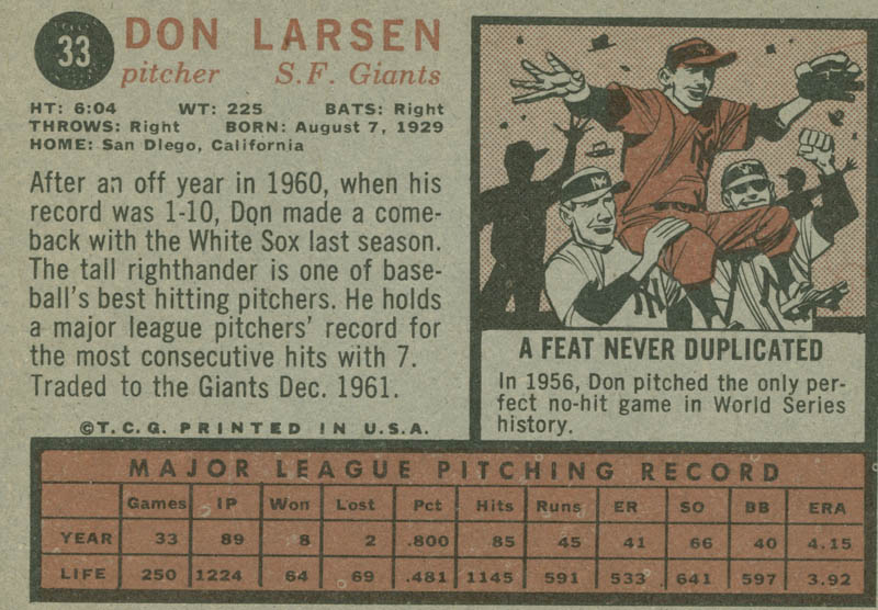 Image 3 for Don Larsen - Trading/Sports Card Signed - HFSID 284518
