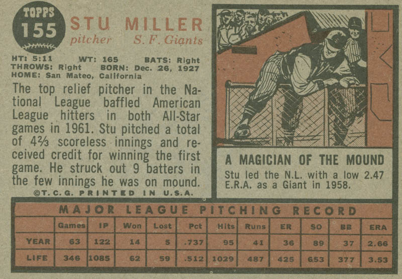 Image 3 for Stu Miller - Trading/Sports Card Signed - HFSID 284532