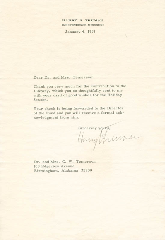 Image 1 for President Harry S Truman - Typed Letter Signed 01/04/1967 - HFSID 284639