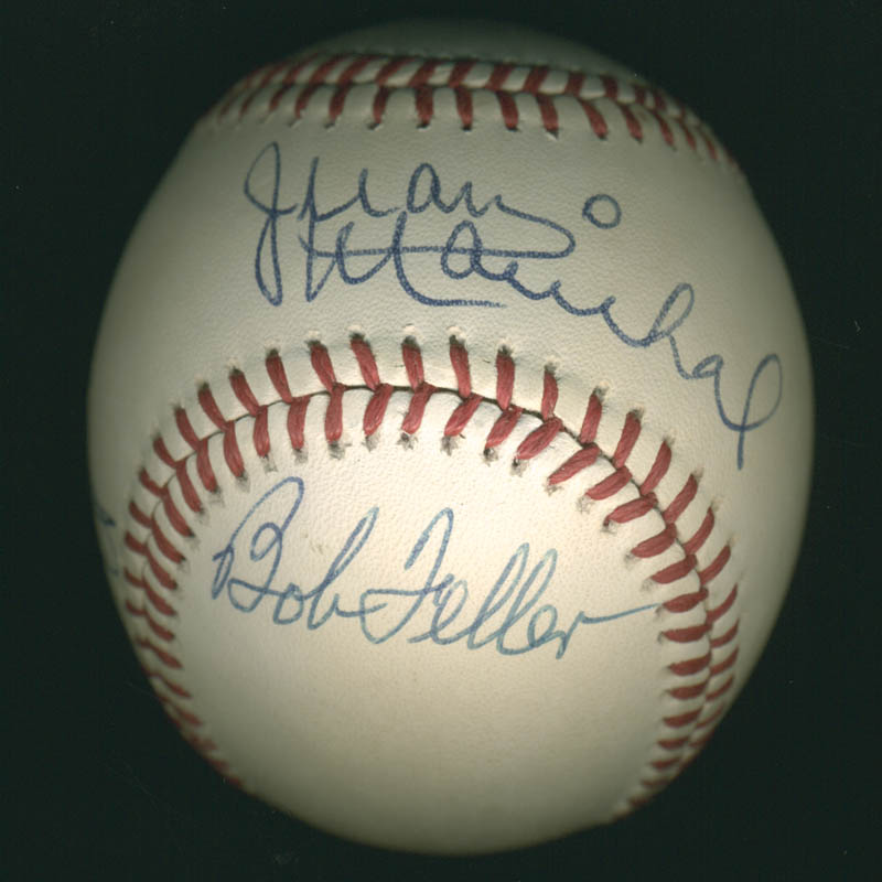 Image 1 for Jim 'Catfish' Hunter - Autographed Signed Baseball co-signed by: Juan Marichal, Bob Gibson, Bob Feller - HFSID 284781