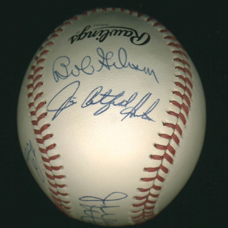 Image 3 for Jim 'Catfish' Hunter - Autographed Signed Baseball co-signed by: Juan Marichal, Bob Gibson, Bob Feller - HFSID 284781