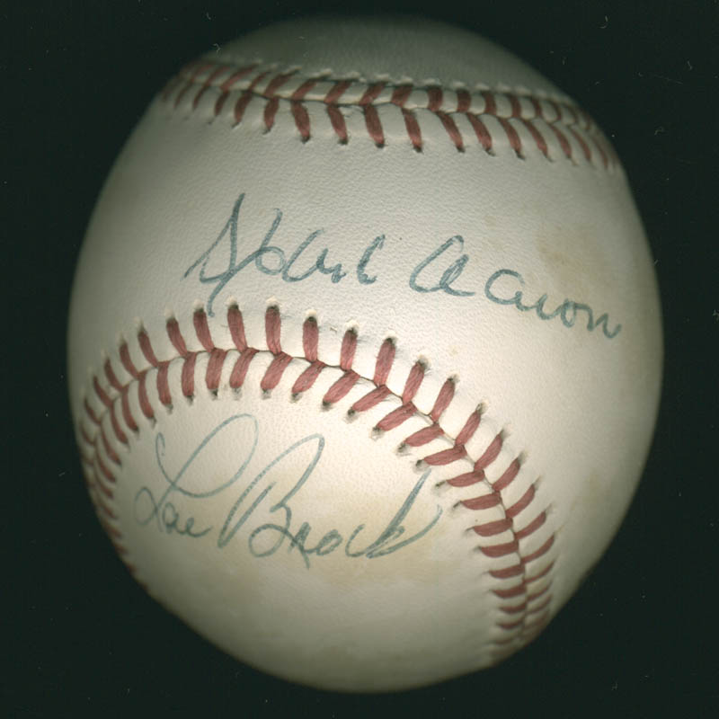 Image 1 for Hank Aaron - Autographed Signed Baseball co-signed by: Lou Brock - HFSID 284795