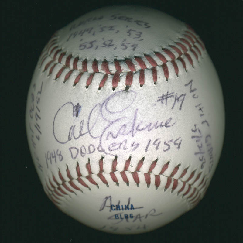 Image 2 for Carl Erskine - Annotated Baseball Signed - HFSID 284812