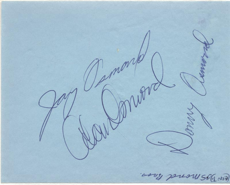 Image 1 for The Osmonds - Autograph co-signed by: The Osmonds (Alan Osmond), The Osmonds (Donny Osmond), The Osmonds (Jay Osmond), Ricardo Montalban - HFSID 28487