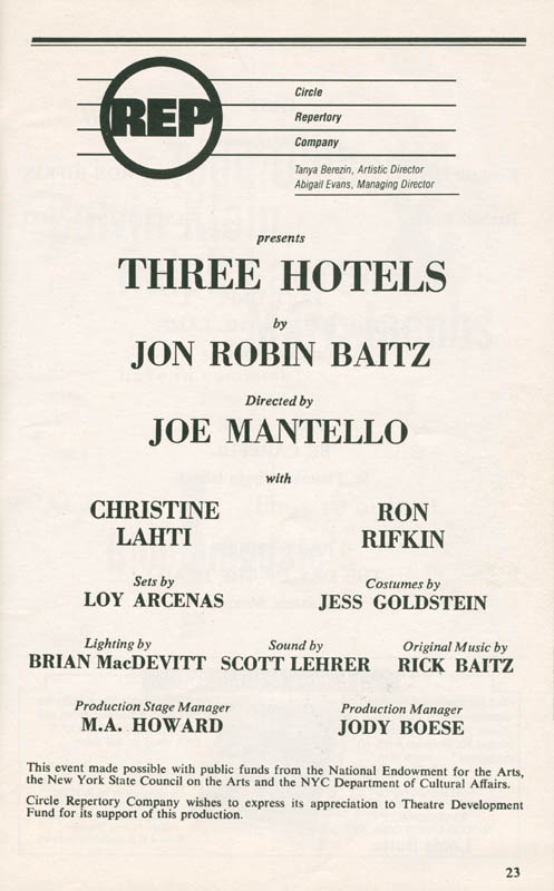 Image 3 for 3 Hotels Play Cast - Show Bill Signed co-signed by: Ron Rifkin, Christine Lahti - HFSID 285039