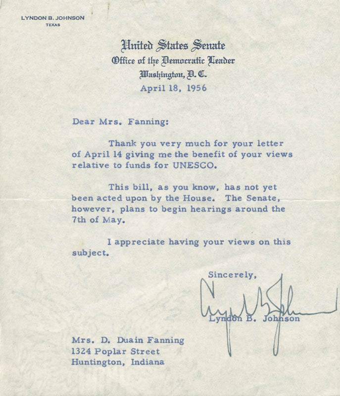 Image 1 for President Lyndon B. Johnson - Typed Letter Signed 04/18/1956 - HFSID 285071