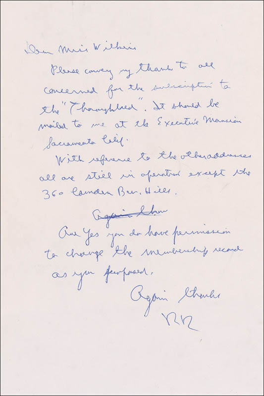 Image 1 for President Ronald Reagan - Autograph Letter Signed - HFSID 285191