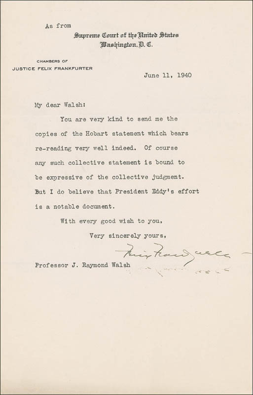 Image 1 for Associate Justice Felix Frankfurter - Typed Letter Signed - HFSID 285200