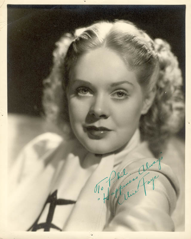 Image 1 for Alice Faye - Autographed Inscribed Photograph - HFSID 28525