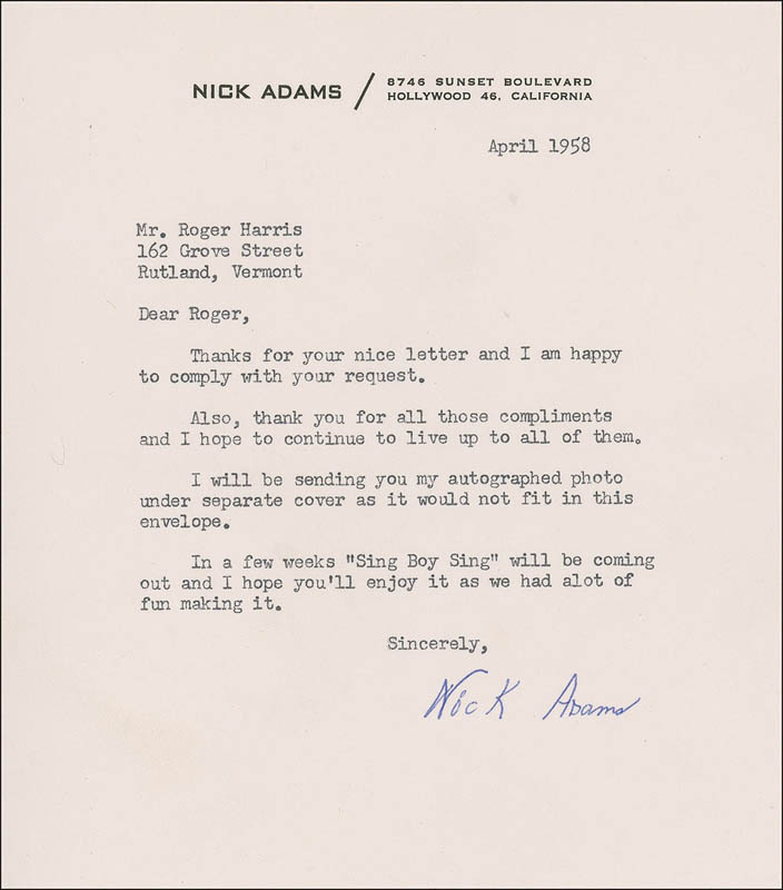 Image 1 for Nick 'The Rebel' Adams - Typed Letter Signed 4/1958 - HFSID 285344