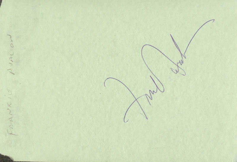 Image 1 for Frankie Avalon - Autograph - HFSID 28539