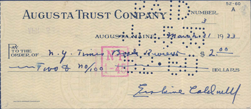 Image 1 for Erskine Caldwell - Autographed Signed Check 03/31/1933 - HFSID 285442