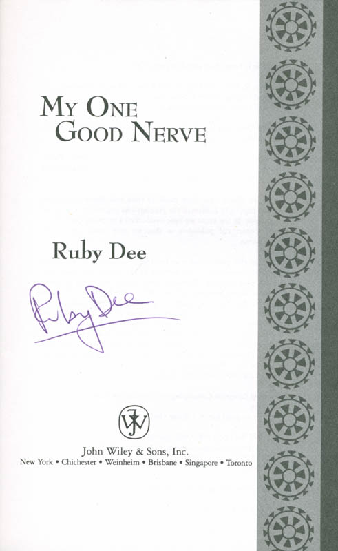 Image 1 for Ruby Dee - Book Signed co-signed by: Sidney Poitier, Ossie Davis - HFSID 285499