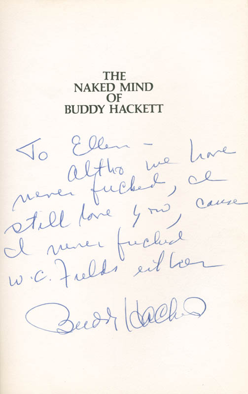 Image 1 for Buddy Hackett - Inscribed Book Signed - HFSID 285554