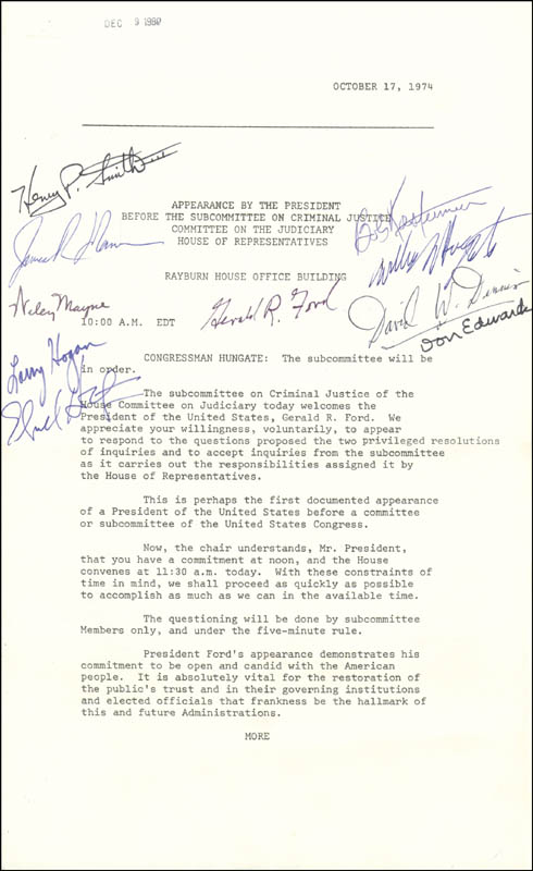 Image 1 for President Gerald R. Ford - Document Signed Circa 1974 with co-signers - HFSID 285759