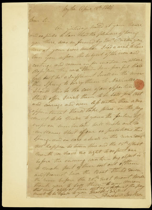 Image 1 for President Andrew Jackson - Autograph Letter Signed 04/25/1804 - HFSID 285807