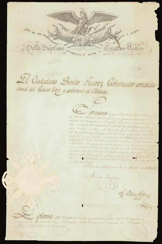 Image 3 for President Benito P. Juarez (Mexico) - Document Signed 08/08/1849 - HFSID 285823