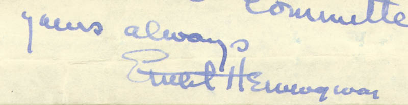 Image 1 for Ernest 'Papa' Hemingway - Autograph Note Signed Circa 1939 co-signed by: Abner Green - HFSID 285874