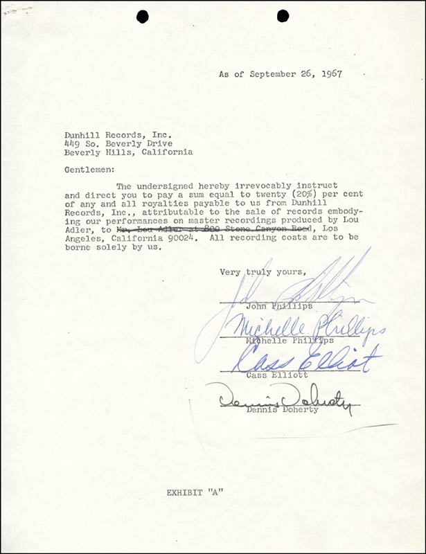 Image 1 for The Mamas And The Papas - Document Signed 09/26/1967 with co-signers - HFSID 285875