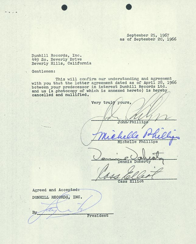 Image 1 for The Mamas And The Papas - Document Signed 09/20/1966 with co-signers - HFSID 285878
