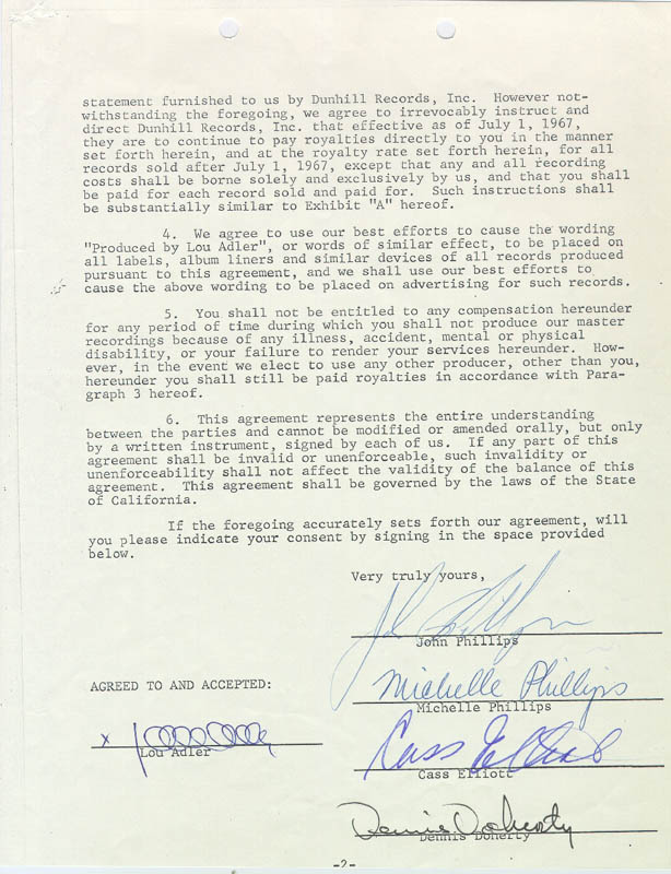 Image 1 for The Mamas And The Papas - Document Signed 09/27/1967 with co-signers - HFSID 285879