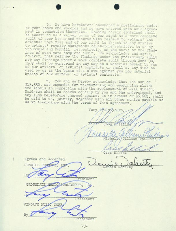 Image 1 for The Mamas And The Papas - Document Signed 09/28/1967 with co-signers - HFSID 285881