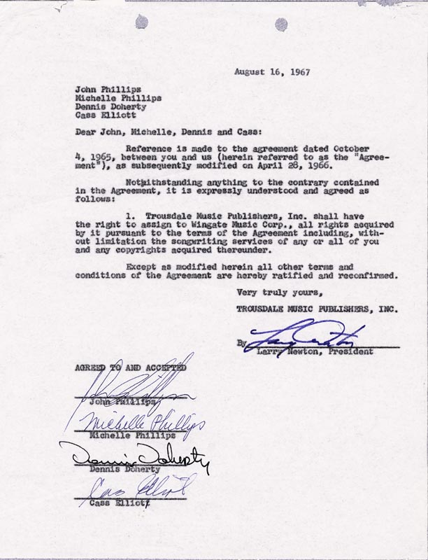 Image 1 for The Mamas And The Papas - Document Signed 08/16/1967 with co-signers - HFSID 285882