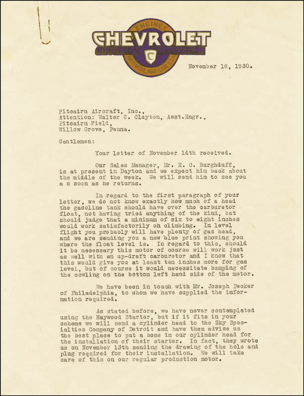 Image 1 for Louis J. Chevrolet - Typed Letter Signed 11/18/1930 - HFSID 285885