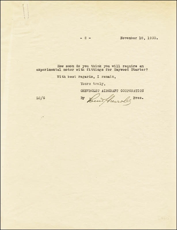 Image 3 for Louis J. Chevrolet - Typed Letter Signed 11/18/1930 - HFSID 285885