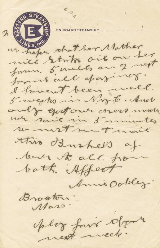 Image 1 for Annie 'Little Sure Shot' Oakley - Autograph Letter Signed 9/24 - HFSID 285930