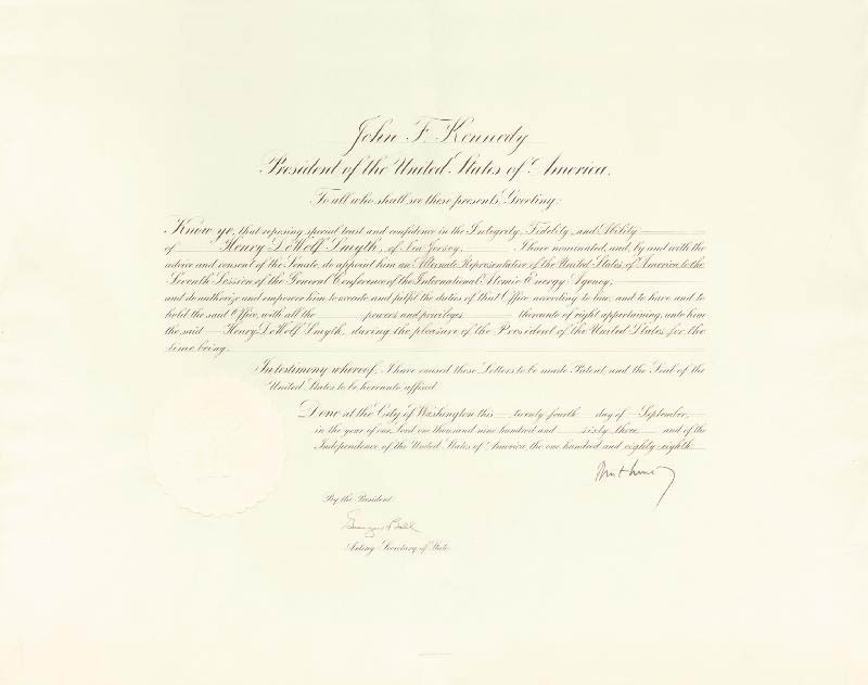 Image 1 for President John F. Kennedy - Diplomatic Appointment Signed 09/24/1963 co-signed by: George W. Ball - HFSID 285937