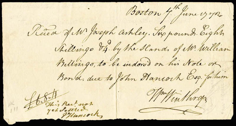 Image 3 for John Hancock - Autograph Note Signed 06/07/1772 - HFSID 285949
