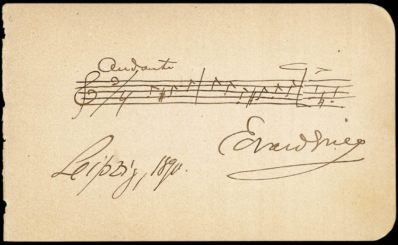 Image 1 for Edvard Grieg - Autograph Musical Quotation Signed 1890 co-signed by: Ernestine Schumann-heink - HFSID 285959