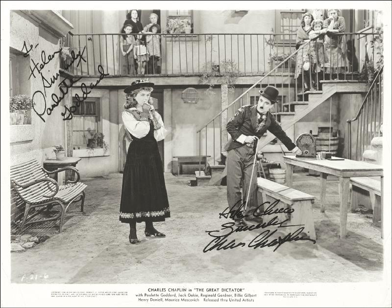 Image 1 for Great Dictator Movie Cast - Autographed Signed Photograph Circa 1940 co-signed by: Paulette Goddard, Charlie 'The Little Tramp' Chaplin - HFSID 285967