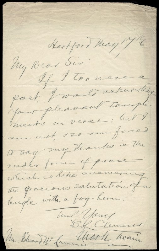 Image 1 for Samuel L. 'Mark Twain' Clemens - Autograph Letter Double Signed 05/17/1886 - HFSID 285974
