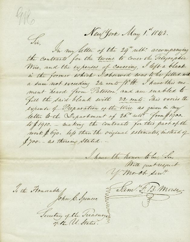 Image 1 for Samuel F. B. Morse - Autograph Letter Signed 05/01/1843 - HFSID 285975
