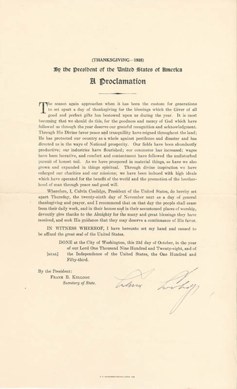 Image 1 for President Calvin Coolidge - Proclamation Signed Circa 1928 - HFSID 285986