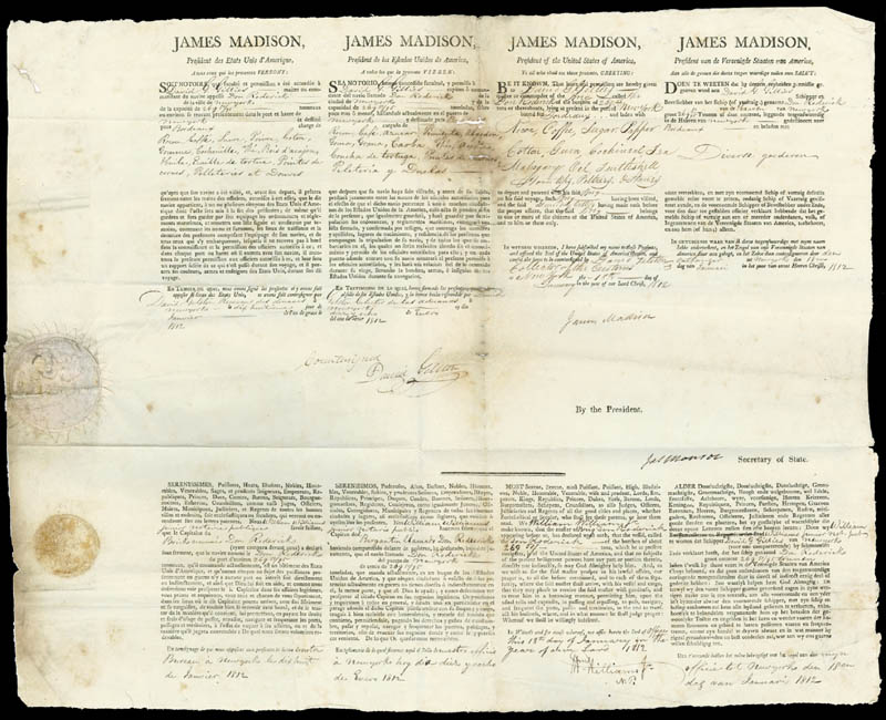 Image 1 for President James Madison - Four Language Ships Papers Signed 01/18/1812 co-signed by: President James Monroe - HFSID 286004