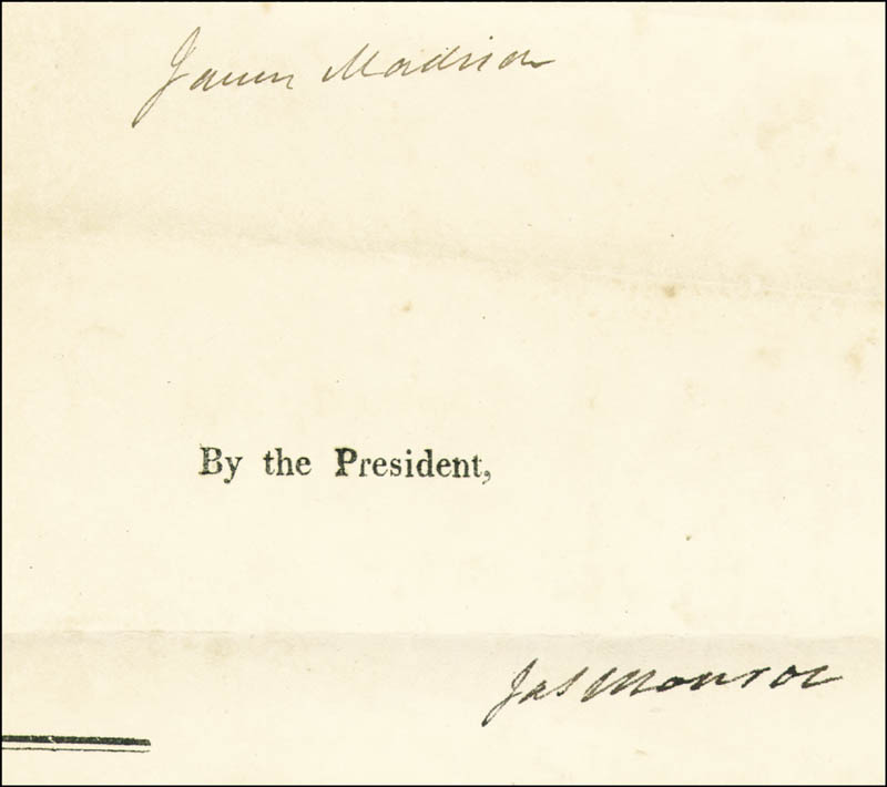 Image 3 for President James Madison - Four Language Ships Papers Signed 01/18/1812 co-signed by: President James Monroe - HFSID 286004
