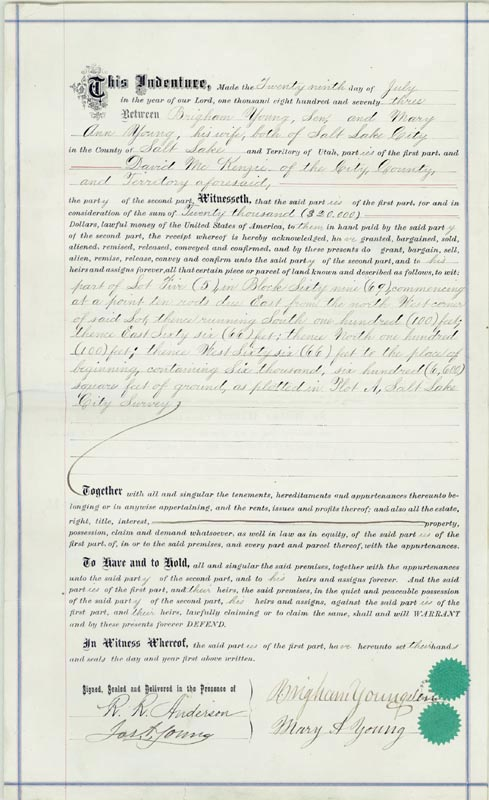 Image 1 for Brigham Young - Deed Signed 07/29/1873 co-signed by: Mary Ann Young - HFSID 286005