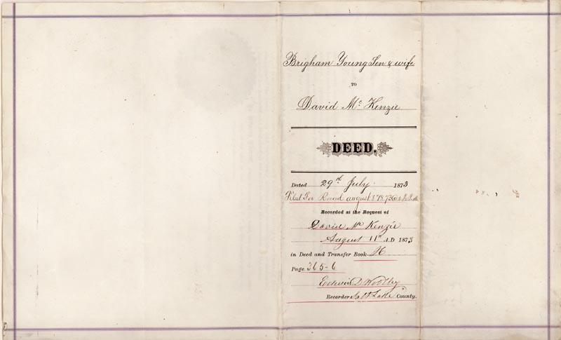Image 4 for Brigham Young - Deed Signed 07/29/1873 co-signed by: Mary Ann Young - HFSID 286005
