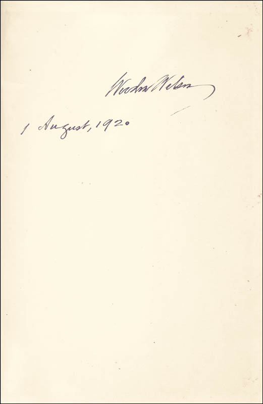 Image 1 for President Woodrow Wilson - Book Signed 08/01/1920 - HFSID 286007