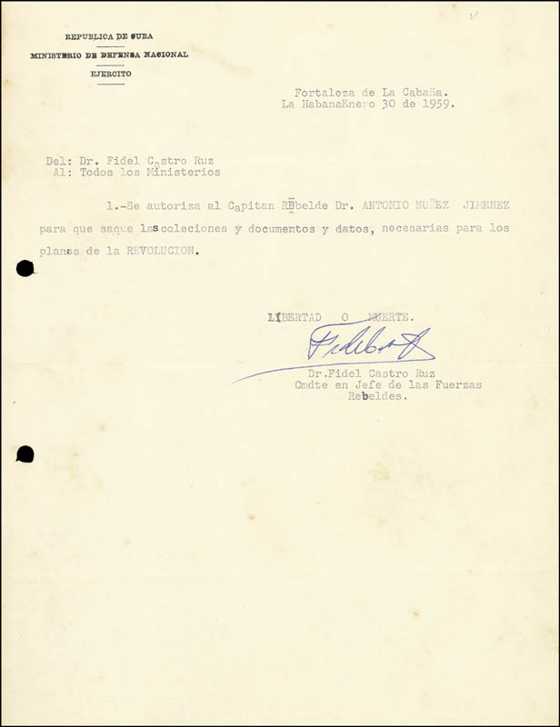 Image 1 for President Fidel Castro (Cuba) - Document Signed 01/30/1959 - HFSID 286016