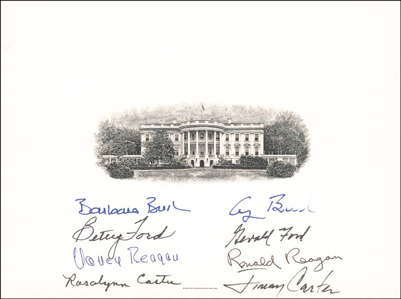 Image 1 for The Four Presidents - White House Engraving Signed with co-signers - HFSID 286021
