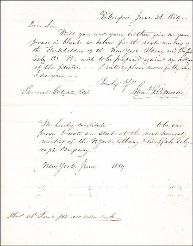 Image 1 for Samuel F. B. Morse - Autograph Letter Signed 06/21/1854 - HFSID 286038