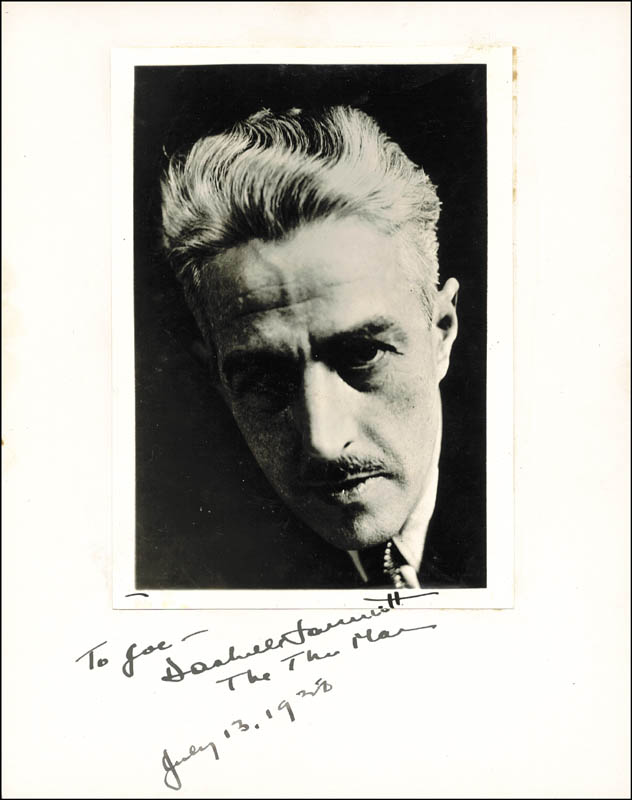 Image 1 for Dashiell (Samuel) Hammett - Inscribed Photograph Mount Signed 07/13/1938 - HFSID 286039
