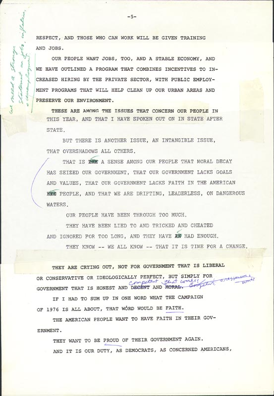 Image 3 for President James E. 'Jimmy' Carter - Annotated Speech Unsigned Circa 1976 - HFSID 286041