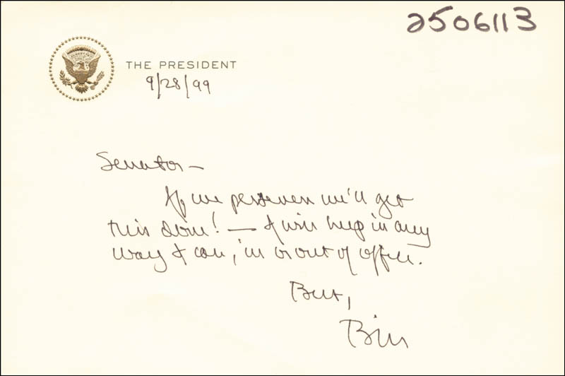 Image 1 for President William J. 'Bill' Clinton - Autograph Note Signed 09/28/1999 - HFSID 286043