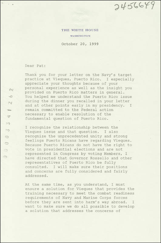 Image 3 for President William J. 'Bill' Clinton - Typed Letter Signed 10/20/1999 - HFSID 286044