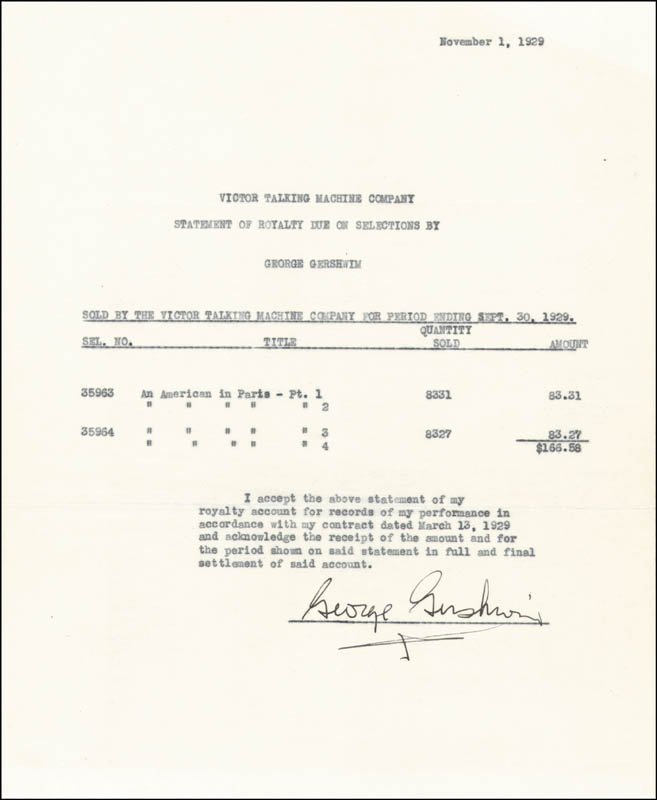 Image 1 for George Gershwin - Document Signed 09/30/1929 - HFSID 286058